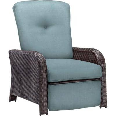 Strathmere All-Weather Wicker Reclining Patio Lounge Chair with Ocean Blue Cushion