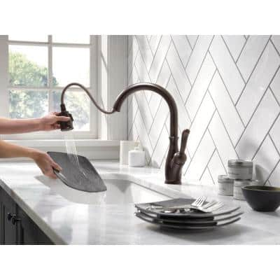 Leland Single-Handle Pull-Down Sprayer Kitchen Faucet w/ShieldSpray and MagnaTite Docking in Venetian Bronze