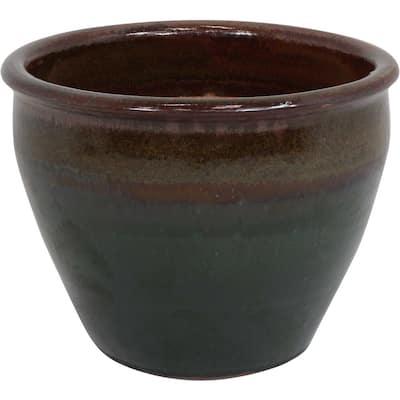 Chalet 15 in. Green Ceramic Indoor/Outdoor Planter