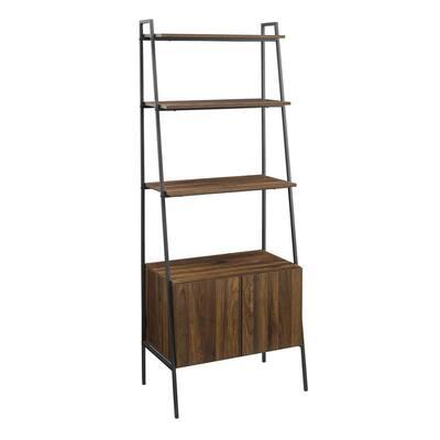 72 in. Dark Walnut Industrial Wood Ladder Bookcase