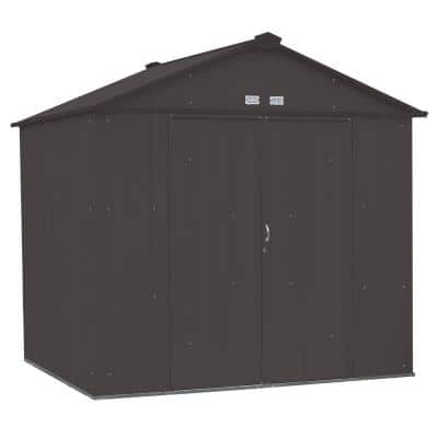 8 ft. W x 7 ft. H x 7 ft. D EZEE Galvanized Steel High Gable Shed in Charcoal with Snap-IT Quick Assembly and Swing Door