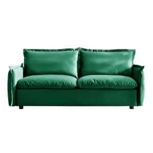 77 in. Green Velvet Solid Print Modern 3-Seats Sofa Couch with Individual Cushion
