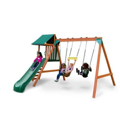 Ranger Plus Wood Playset with Swings, Rock Wall, and Wave Slide