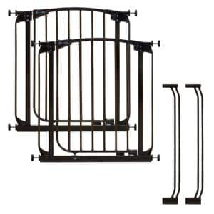 Chelsea 29.5 in. H Standard Height Auto-Close Security Gate in Black Value Pack with 2 Gates and 2 Extensions