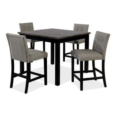 Eldara 5-Piece Black and Gray Counter Dining Table Set