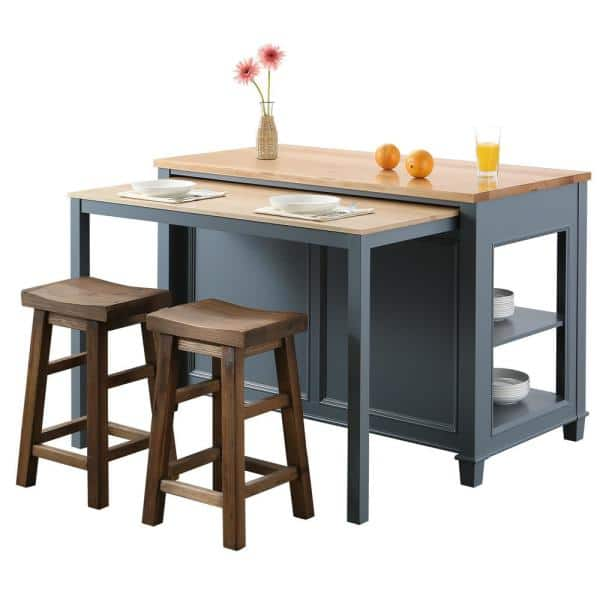 Design Element Medley Gray Kitchen Island With Slide Out Table Kd 01 Gy The Home Depot
