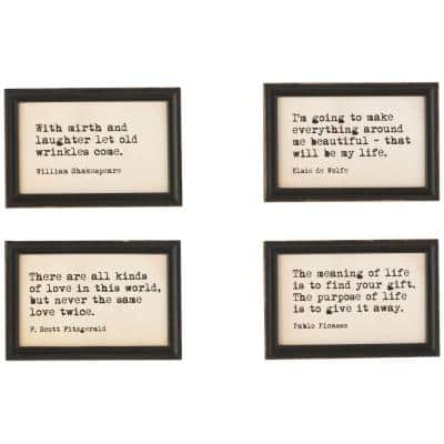 9 in. H x 6 in. W Famous Quotes Framed Wall Art (Set of 4)