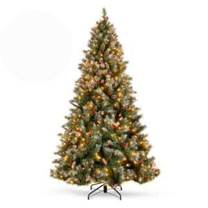 6 ft. Pre-Lit Incandescent Flocked Pre-Decorated Artificial Christmas Tree with 250 Warm White Lights