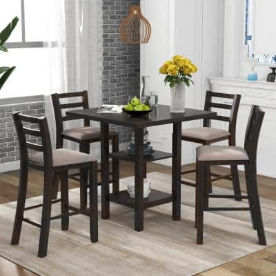 5-Piece Espresso Chairs Counter Height Dining Set with 4-Padded Chairs