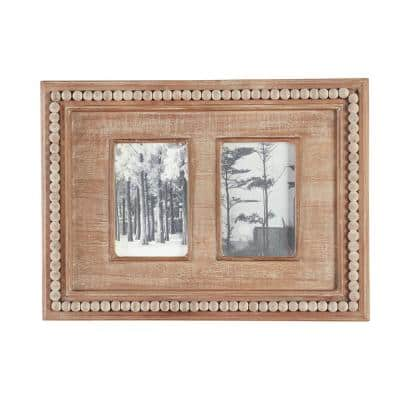 """4"""" x 6"""" Natural Beaded Wood 2-Opening Picture Fram"""