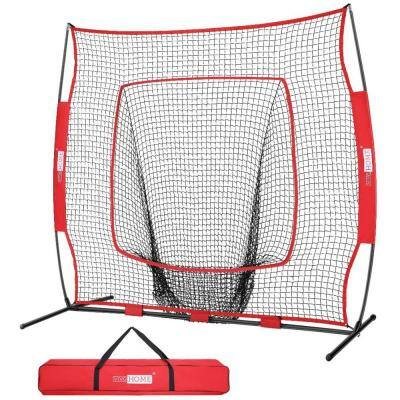 7 ft. x 7 ft. Baseball Backstop Softball Practice Net with Strike Zone Target and Carry Bag