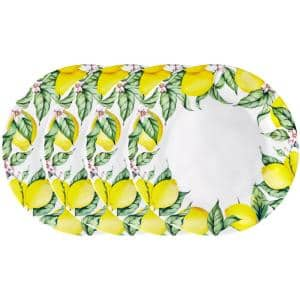 Limonata 4-Piece Vintage Yellow Melamine Outdoor Dinner Plate (Service for 4)