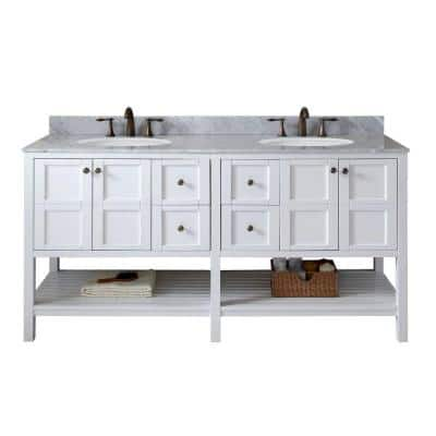 Winterfell 72 in. W Bath Vanity in White with Marble Vanity Top in White with Round Basin