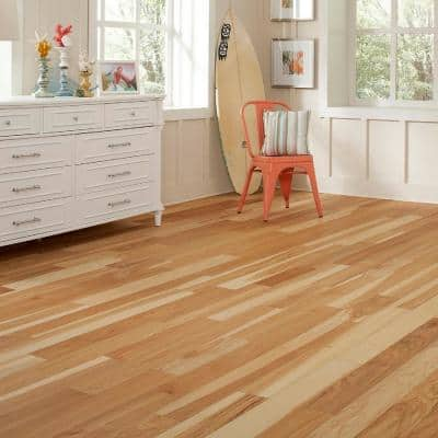 Wire Brushed Natural Hickory 3/8 in. T x 5 in. Wide x Varying Length Click Lock Hardwood Flooring (19.686 sq. ft. /case)