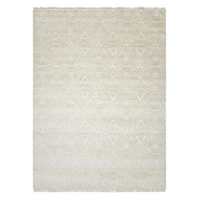 Laurel Contemporary Modern Beige 9 ft. x 12 ft. Hand-Knotted Area Rug