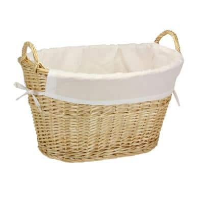 Willow Laundry Basket with Lining and Handles/Natural