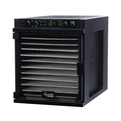 Sedona Express 11-Tray Black Stainless Steel Food Dehydrator with Built-In Timer