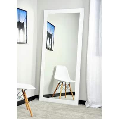 Medium White Composite Hooks Modern Mirror (32 in. H X 66 in. W)