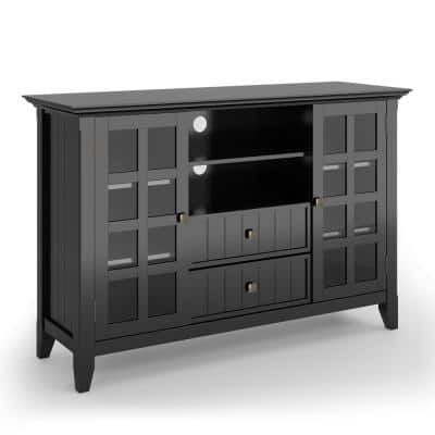 Brunswick 53 in. Black Wood TV Stand with 2 Drawer Fits TVs Up to 55 in. with Storage Doors
