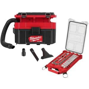 M18 FUEL PACKOUT 18-Volt Lithium-Ion Cordless 2.5 Gal. Wet/Dry Vacuum with 3/8 in. SAE Mechanics Set (28-Piece)