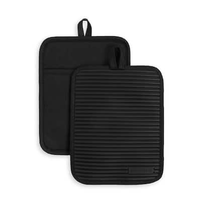 Ribbed Soft Silicone Black Pot Holder 2 Pack