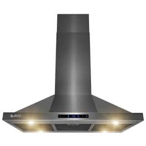 36 in. 343 CFM Kitchen Island Mount Range Hood in Black Stainless Steel with Touch Control