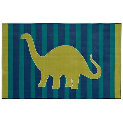 Friendly Dinosaur Blue 7 ft. 6 in. x 10 ft. Whimsical Area Rug
