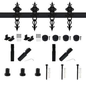 Winsoon 5 Ft 60 In Black Interior Modern Country Rustic Wood Barn Door Closet Hardware Track Kit For Double Doors Gcm3816 The Home Depot