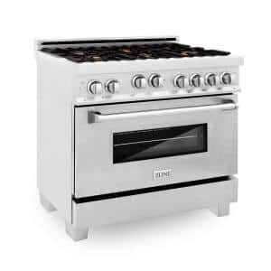 36 in. 4.6 cu. ft. Gas Range with Stove and Gas Oven in DuraSnow Stainless Steel with Brass Burners