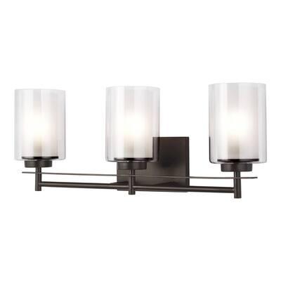 Elmwood Park 22.25 in. W 3-Light Bronze Vanity Light with LED Bulbs