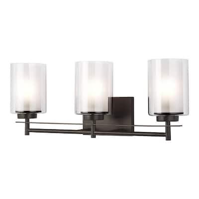 Elmwood Park 22.25 in. W 3-Light Heirloom Bronze Vanity Light with LED Bulbs