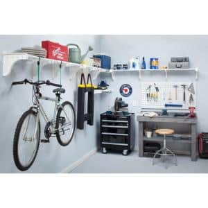 40 in. - 75 in. Metal 3-Expandable Garage Shelf in White (Set of 3)