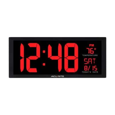14.5 in. Large LED Clock with Indoor Temperature