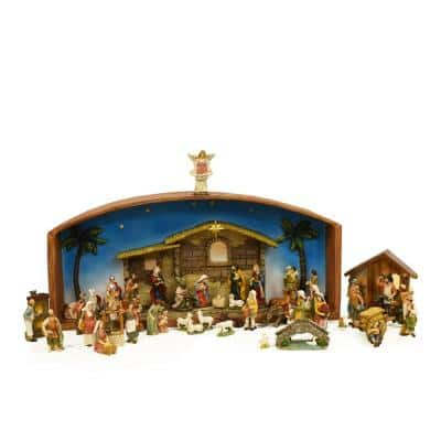 31.5 in. 52-Piece Religious Christmas Nativity Village Set with Holy Family