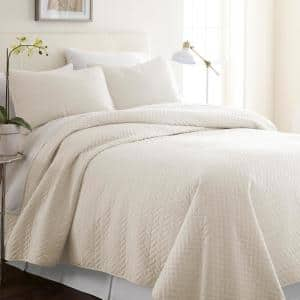 Herring Ivory Microfiber King Performance Quilted Coverlet Set