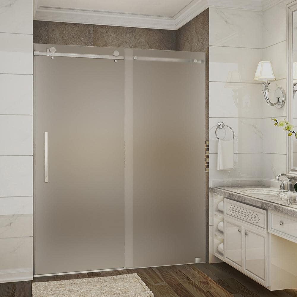 Aston Moselle 56 In To 60 In X 75 In Completely Frameless Sliding Shower Door With Frosted Glass In Brushed Stainless Steel Sdr976f Ss 60 10 The Home Depot