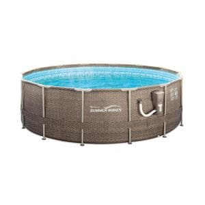 Summer Waves 14 ft. x 48 in. Round 45 in. Deep Metal Frame Pool with Ladder and Skimmer Pump