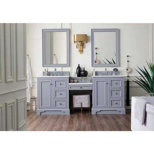 James Martin Vanities De Soto 82 In W Double Bath Vanity In Silver Gray With Marble Vanity Top In Carrara White With White Basin 825v82slcar The Home Depot