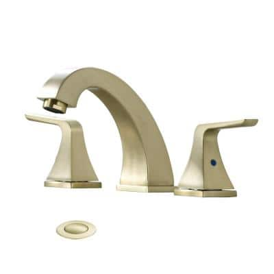 8 in. Widespread 2-Handle Bathroom Faucet with Pop-Up Assembly in Brushed Gold