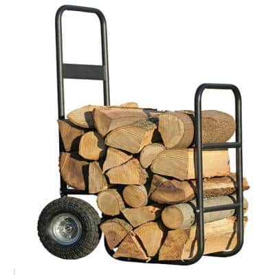 14 in. x 38 in. Firewood Log Hauler Rolling Log Rack - Pnuematic Wheels