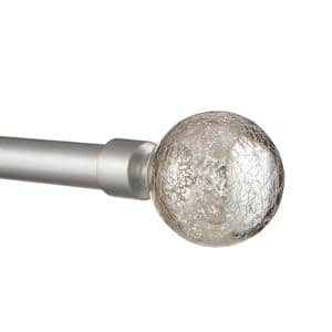 36 in. - 72 in.Adjustable Length 1 in. Dia Single Curtain Rod Kit in Matte Silver with Silver Aged Sphere Finial