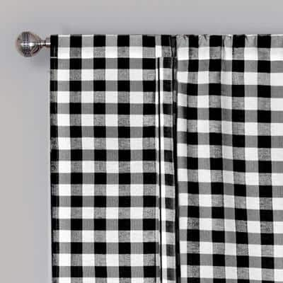 Buffalo Check 42 in. W x 63 in. L Polyester/Cotton Light Filtering Window Panel in Black