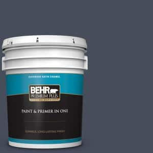 Behr Premium Plus 5 Gal S510 7 Dark Denim Satin Enamel Exterior Paint And Primer In One 934005 The Home Depot