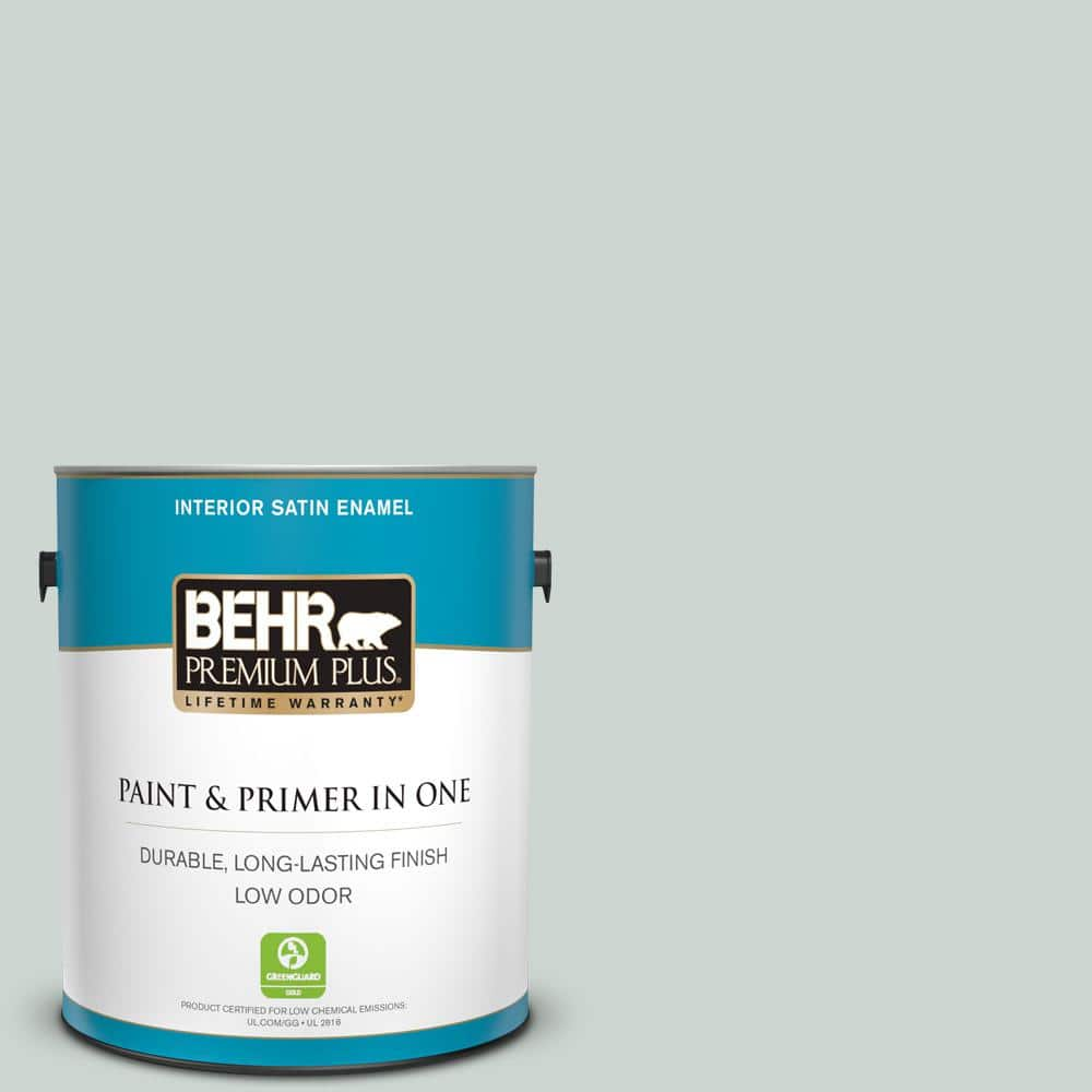 Behr Premium Plus 1 Gal Mq3 21 Breezeway Satin Enamel Low Odor Interior Paint And Primer In One 705001 The Home Depot