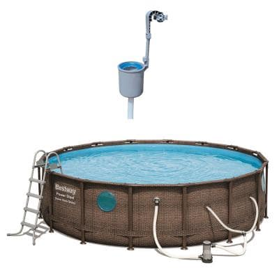 16 ft. Round 48 in. D Power Steel Hard Side Vista Above Ground Swimming Pool with Surface Skimmer
