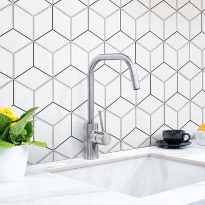 Palm Rombo Hex White 6 in. x 7 in. Porcelain Floor and Wall Tile (2.97 sq. ft./Case)