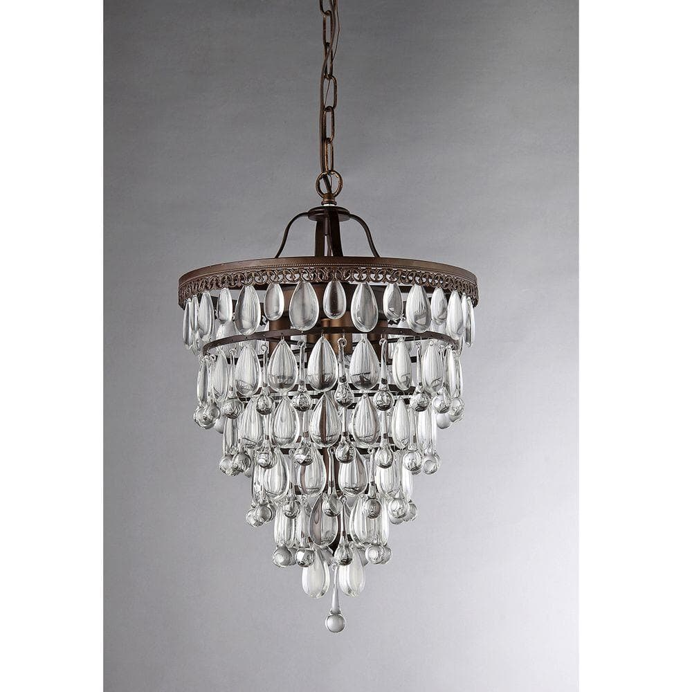 Warehouse Of Tiffany Martinee Crystal Inverted Pyramid 4 Light Antique Bronze Chandelier With Shade Rl8076 The Home Depot