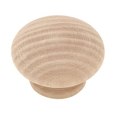 Classic 1-1/2 in. (38mm) Birch Wood Round Cabinet Knob