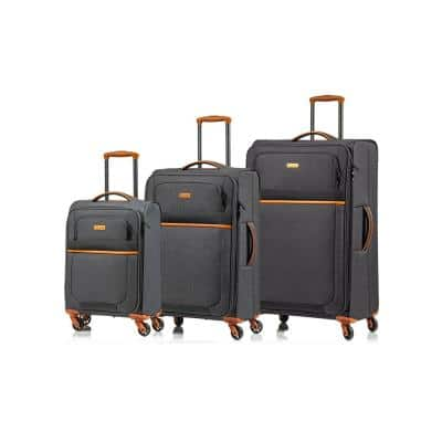 CHAMPS Classic II 28 in.,24 in., 20 in. Black Softside Luggage Set with Spinner Wheels (3-Piece)
