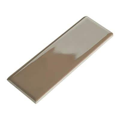 Semi-Gloss Elemental Tan 2 in. x 6 in. Ceramic Bullnose Wall Tile (0.083 sq. ft. / piece)